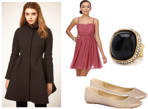 Outfits Under $100 - Coats: Quilted flare coat, pink dress, ballet flats