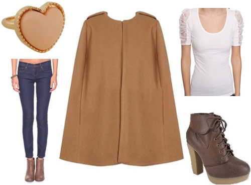 Outfits Under $100 - Coats: Camel cape, skinny jeans, basic white shirt, ankle boots