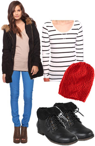 Outfits Under $100 - Coats: Black parka, striped shirt, red beanie, boots