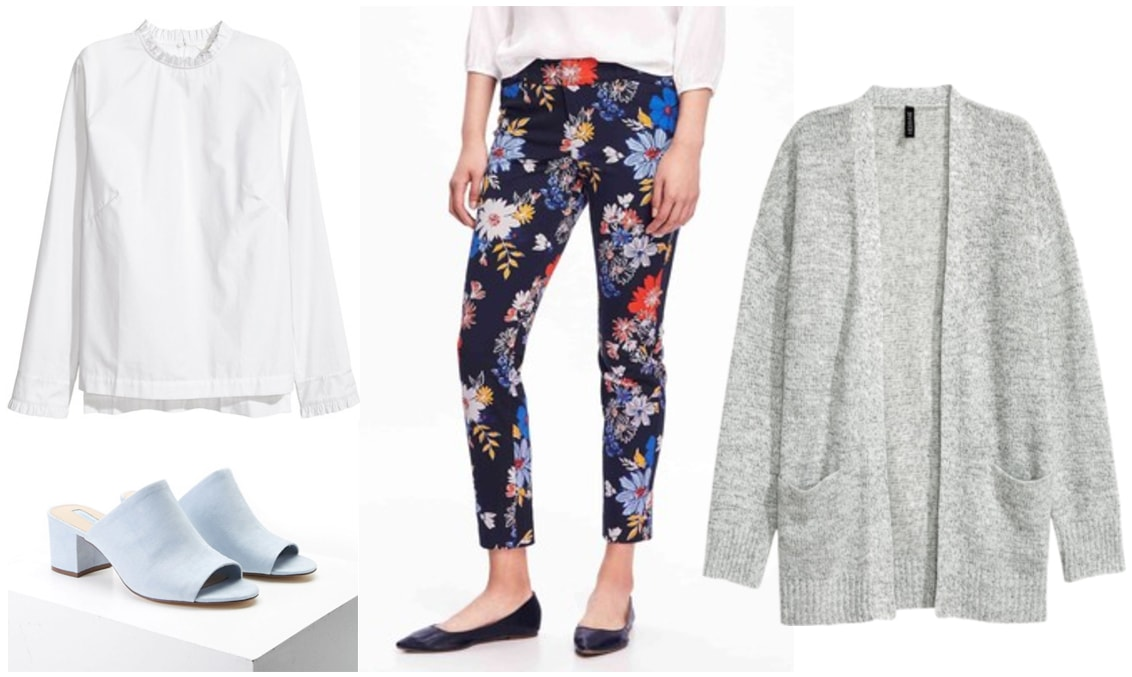 Outfit idea for a chilly spring day: White blouse, floral trousers, oversized gray cardigan, light blue suede mules