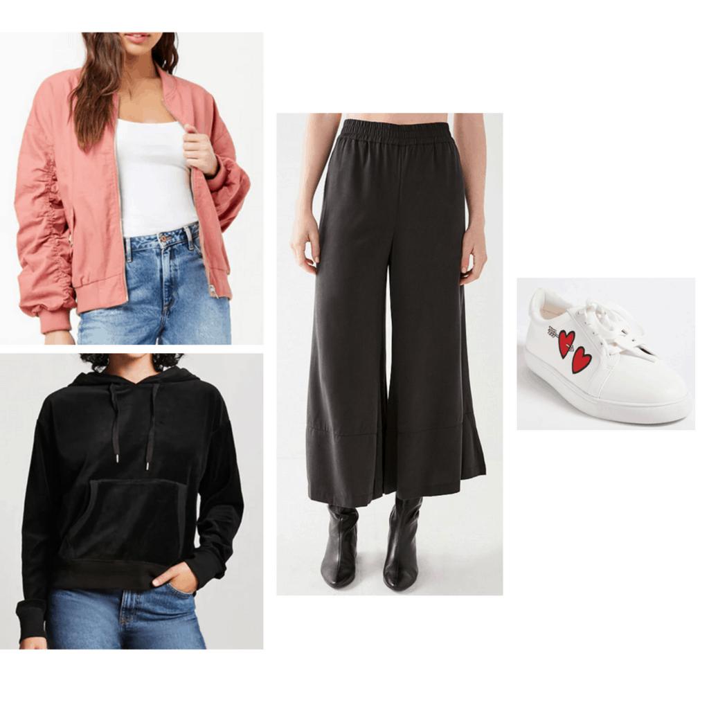 bomber jacket, culotte, sneakers, velvet hoodie, athleisure
