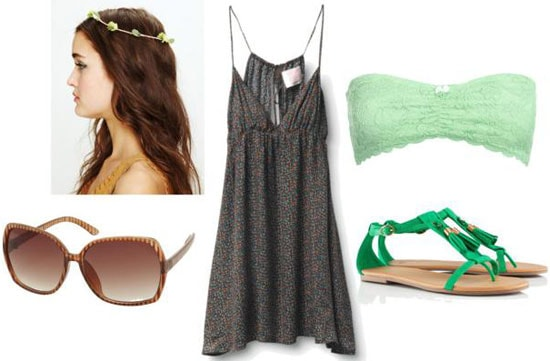 Outfits Under $100: What to wear to a music festival - dress, headband, bandeau, sandals, sunglasses