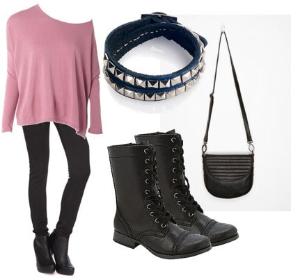 Night out outfit under $100 - loose sweater, skinny jeans, boots, bracelet, cross-body bag