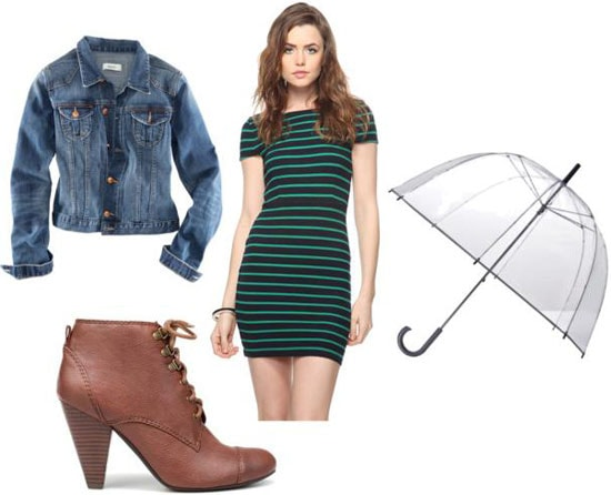 Outfits Under $100: What to wear on a rainy day on campus - Striped dress, jean jacket, ankle booties, bubble umbrella