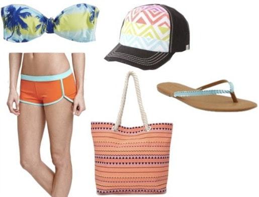 Outfits under $100: tropical bikini, board shorts, baseball cap