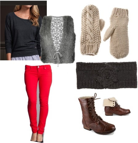 Winter outfits under $100: Fur vest, red jeans, navy tee, lace-up boots, scarf, mittens