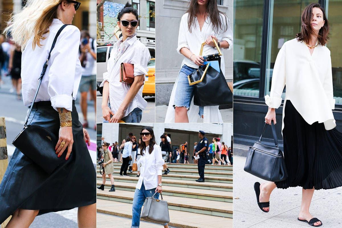 Women wearing white button down shirt