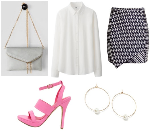 White shirt with wrap skirt, gray crossbody, pink heels, and earrings