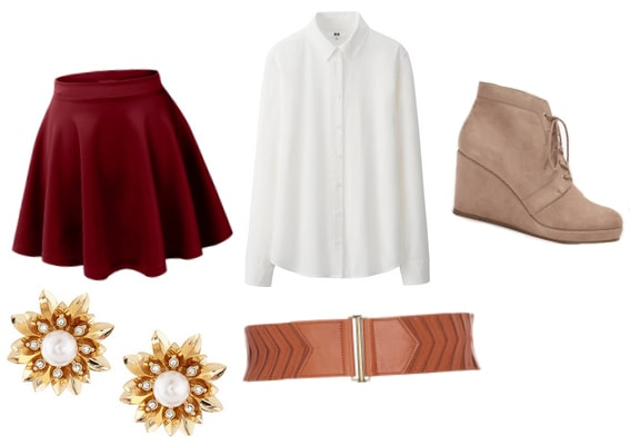 Red skirt with white shirt, wedge booties, earrings, and belt