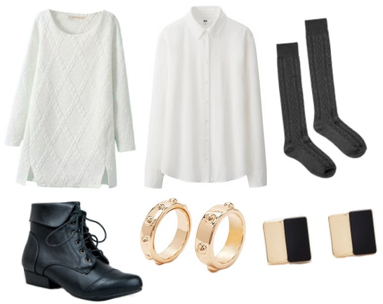 White sweater with button down, knee high socks, black boots, and jewelry
