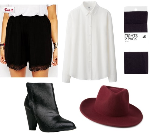 Black shorts with white shirt, tights, black boots, and red hat