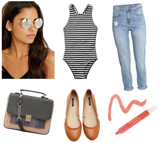 Mirrored sunglasses with striped bodysuit, distressed jeans, crossbody, flats, and lipstick
