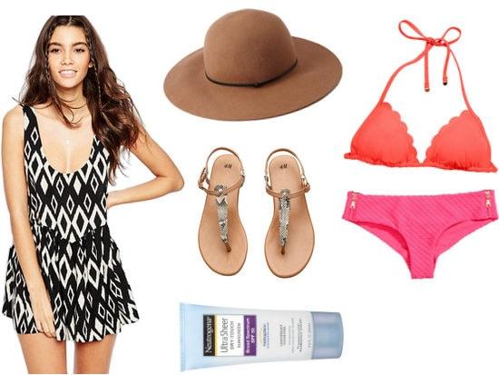 Romper with sun hat, bikini, sandals, and sunblock