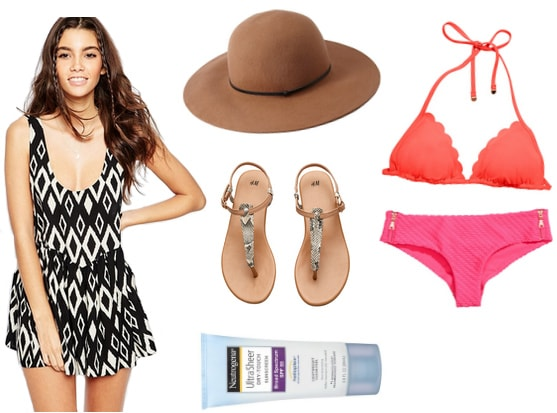 Romper with sun hat, bikini, sandals, and sunblock