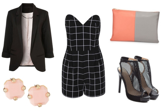 Black blazer with romper, colorblock clutch, mesh heels, and earrings