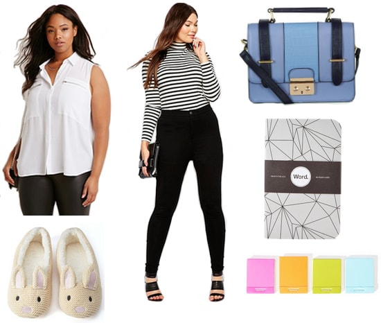 Sleeveless blouse with black trousers, blue satchel, bunny slippers, and school supplies