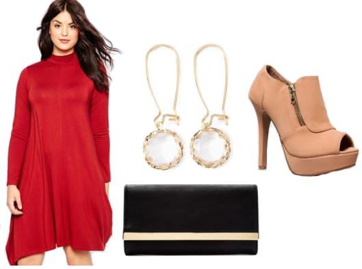 Read dress with gemstone drop earrings, tan booties, and black clutch