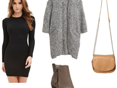 Bodycon black dress, gray cardigan, charcoal booties, tan crossbody