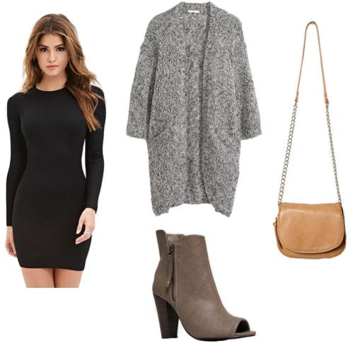 Bodycon black dress, gray cardigan, charcoal booties, tan crossbody