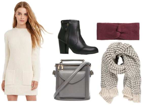 Sweater dress with black booties, knit headband, knit scarf, and gray crossbody satchel