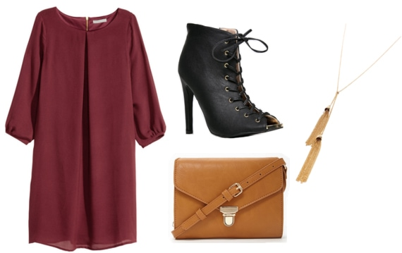 Burgundy dress with tan crossbody, lace up black booties, and gold necklace