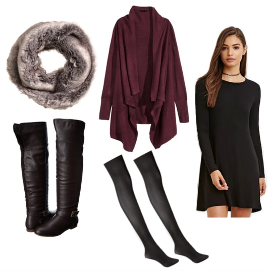 Faux fur scarf, purple cardigan, brown boots, tights, and black dress