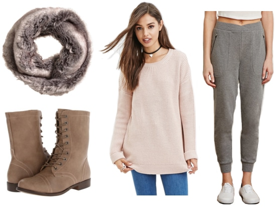 Faux fur scarf, tan boots, pink sweater, gray joggers