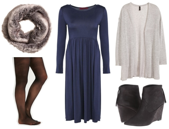 Faux fur scarf, black tights, blue midi dress, sheer gray cardigan, and black wedge booties