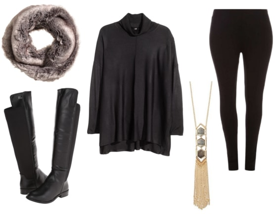 Faux fur, black boots, black oversized sweater, gold necklace, and black leggings