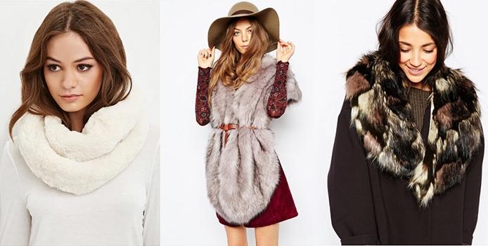 Three models wearing faux fur scarves