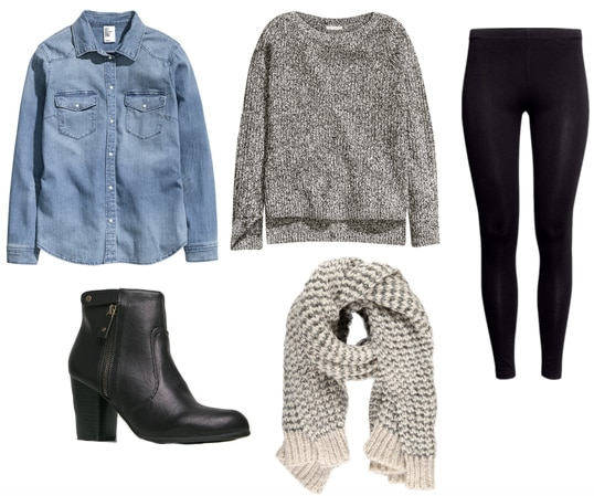 Denim shirt, marled sweater, black booties, scarf, and leggings