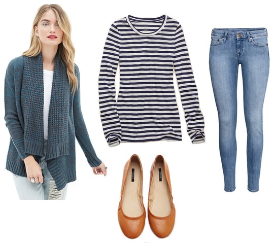 Green marled cardigan with striped tee, light wash jeans, and tan flats