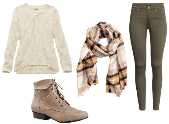 White sweater with green pants, plaid scarf and taupe lace-up booties