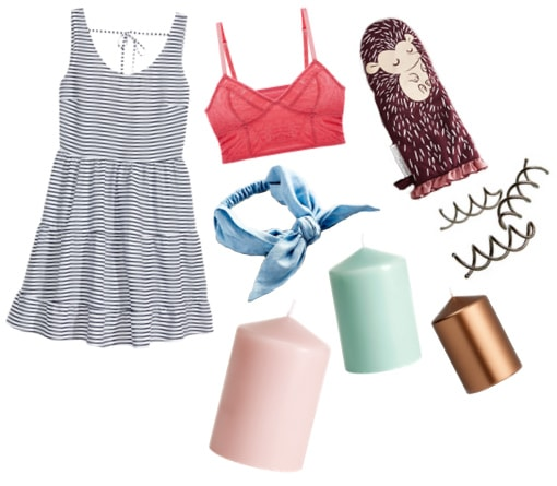 Striped dress, red bralette, oven mitt, headwrap, and assorted candles
