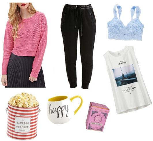 Pink cropped sweater, black joggers, blue bralette, graphic tank, popcorn, mug, and tea