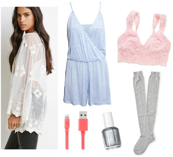 Mesh embroidered cardigan with light blue romper, pink bralette, and knee high socks