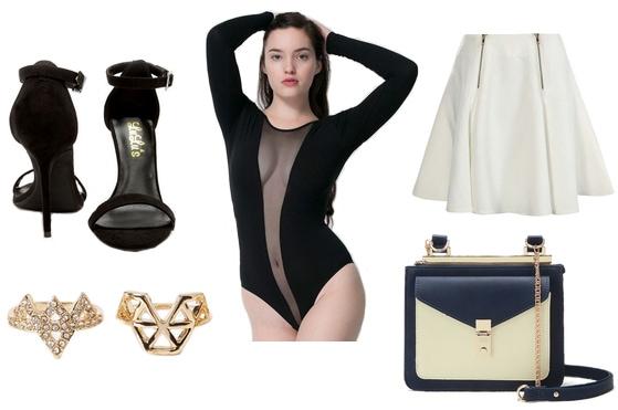 Mesh bodysuit, black heels, gold rings, white skirt, blue and cream crossbody