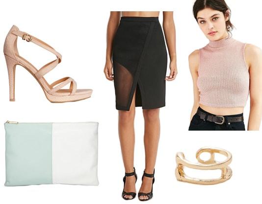 Pink crop top, mesh wrap skirt, colorblock clutch, and beige heels
