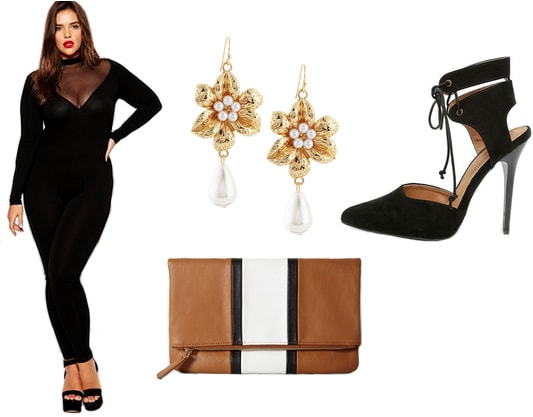 Black bodysuit with gold earrings, tan clutch, and black heels