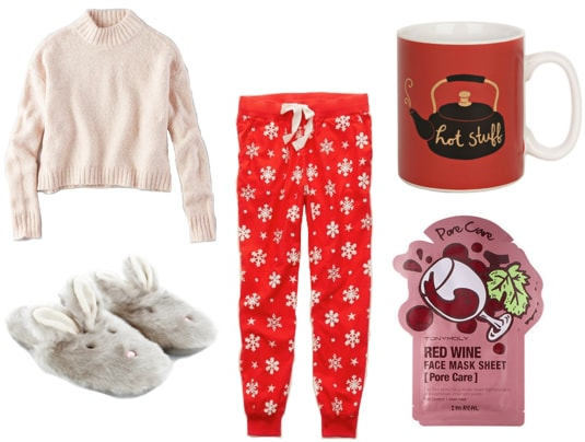 Turtleneck sweater with red pajama pants, coffee mug, gray bunny slippers, and red wine mask