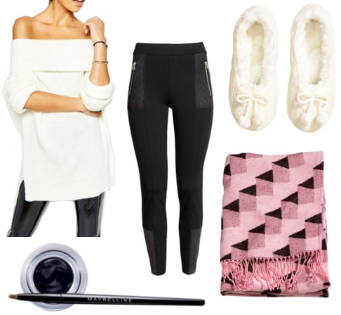 White off the shoulder sweater with black leggings, pink throw blanket, white slippers, and black eye liner