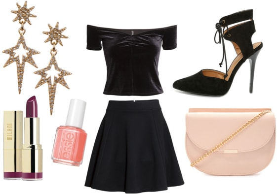 Starburst earrings with lipstick, pink nail polish, black velvet top, black skirt, heels, and pink crossbody