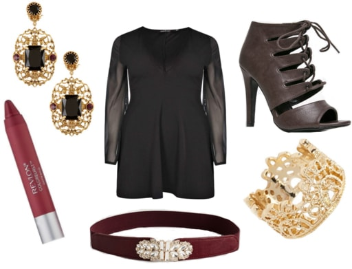 Filigree earrings with berry lipstick, black chiffon dress, burgundy belt, lace up heels, and gold ring