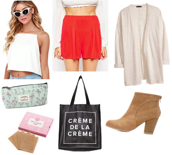 White top with red shorts, cardigan, pencil case, tote, and boots