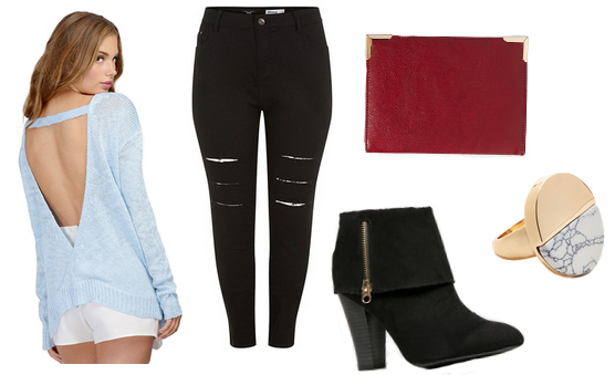 Blue top with black jeans, black booties, red clutch and circle ring