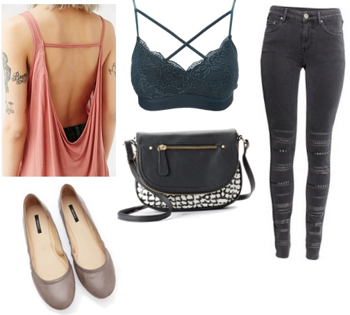 Pink open back tank with green bralette, gray flats, jeans, and crossbody bag