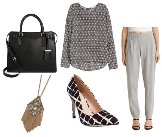 Black bag with print blouse, gray pants, plaid pumps, and gold pendant necklace