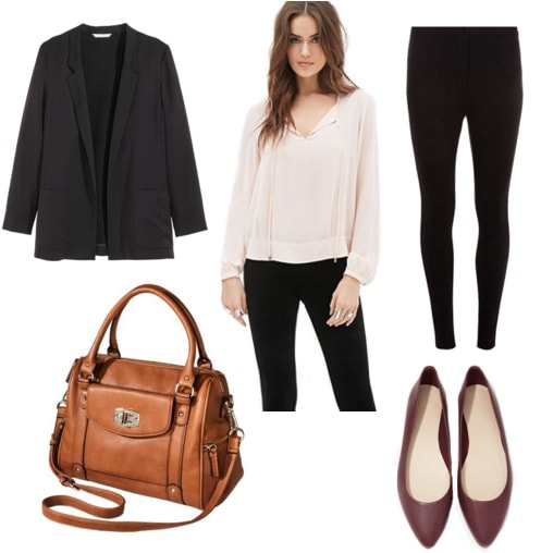Black blazer with pale pink blouse, tan satchel, black trousers, and maroon flats