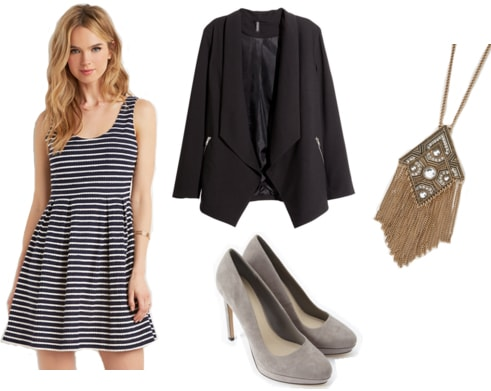Striped dress, black blazer, gray pumps, and gold pendant necklace