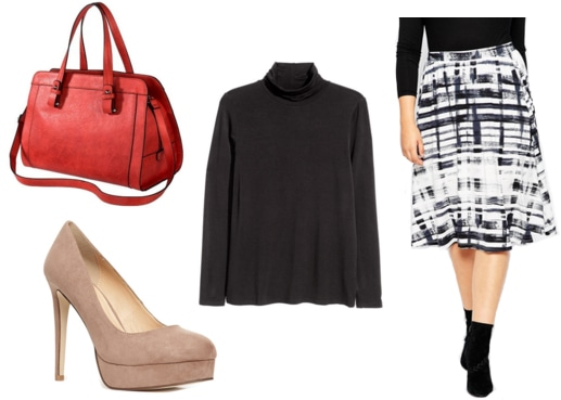 Red satchel, black turtleneck, black and white print skirt, taupe pumps